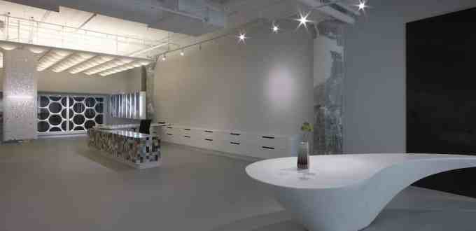 Thermoformed Corian Dupont Design Center Conference Room Table and Ceiling Lighting