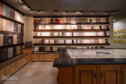 Samples and Displays at MacLaren Kitchen and Bath Showroom in West Chester for custom Countertops and Cabinetry