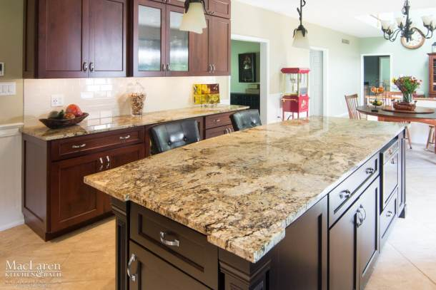 Custom Granite Island Countertops with corner detail West Chester PA by MacLaren