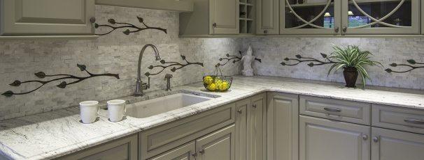 custom vine design water jet backsplash cnc tile corian cream marfil tile kitchen