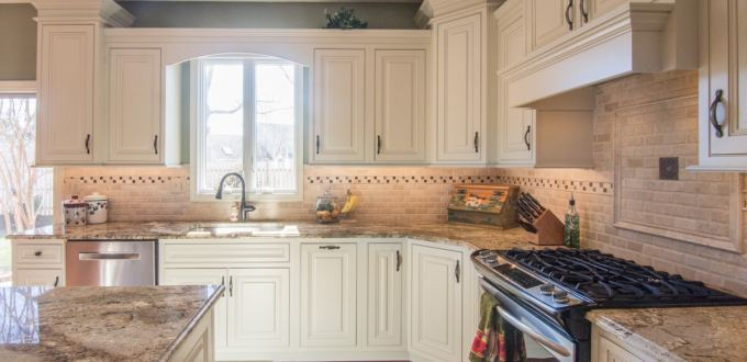 Centra/Mouser Cabinetry and Golden Beach Granite countertops