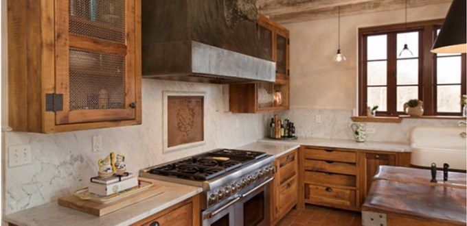 Honed Carrara Marble Backsplash and Perimeter Countertop to Compliment the Rustic Design