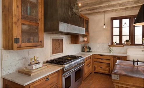 Honed Carrara Marble Backsplash and Perimeter Countertop to Compliment the Rustic Design