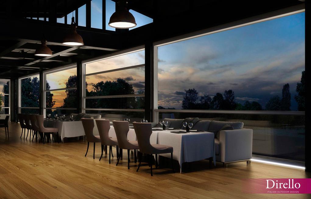 Restaurante con ventanales de cristal motorizados