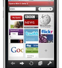 Opera Mini 5 num iPhone