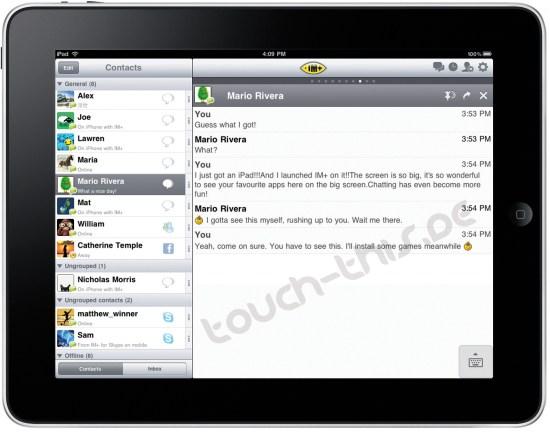IM+ rodando no iPad