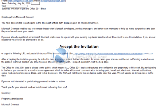 Convite da Microsoft para o beta do Office 2011 para Mac