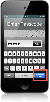 Ligações de emergência no iPod touch