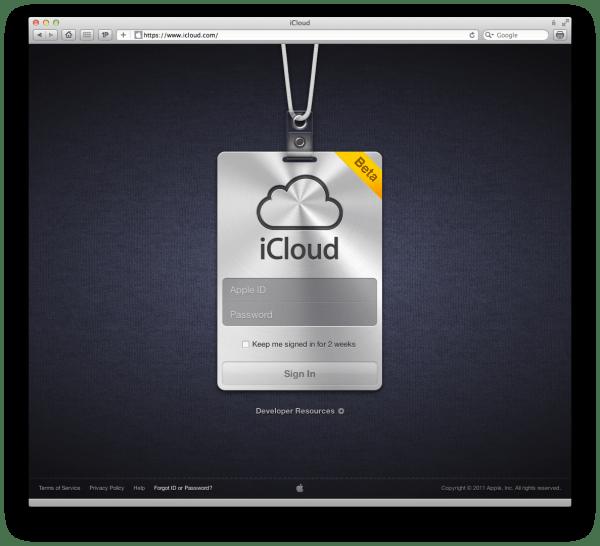 Página de login no iCloud.com
