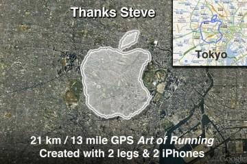 Meia maratona com formato de maçã