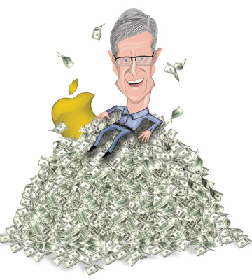 Tim Cook sentado numa pilha de dinheiro