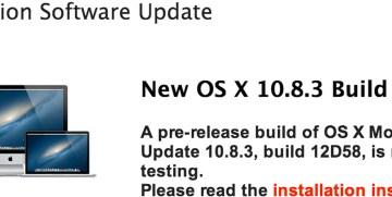 Nova versão beta do OS X 10.8.3