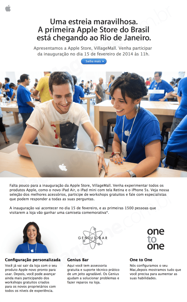Newsletter da Apple Retail Store - VillageMall