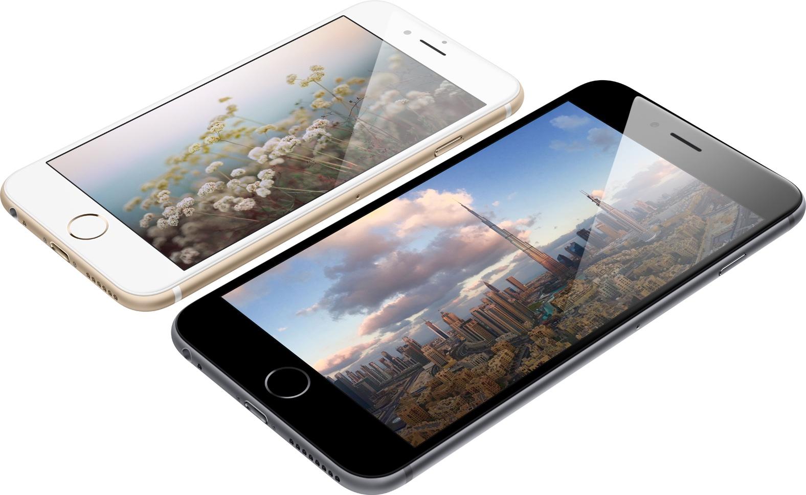 iPhones 6 e 6 Plus deitados