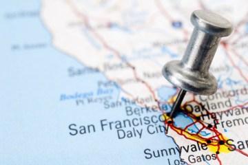 Mapa com pino em San Francisco