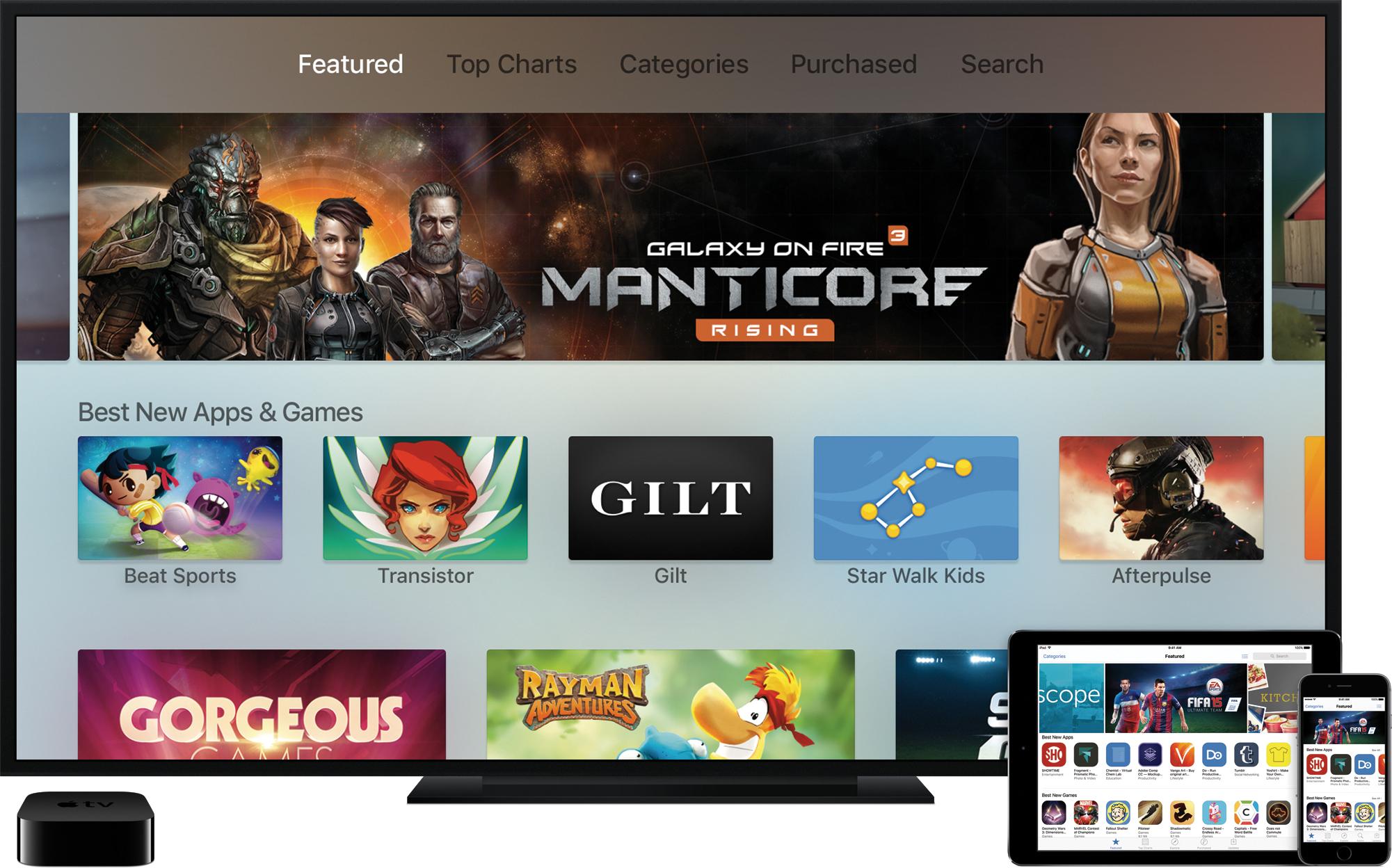 App Store na televisão ao lado da nova Apple TV e de iGadgets