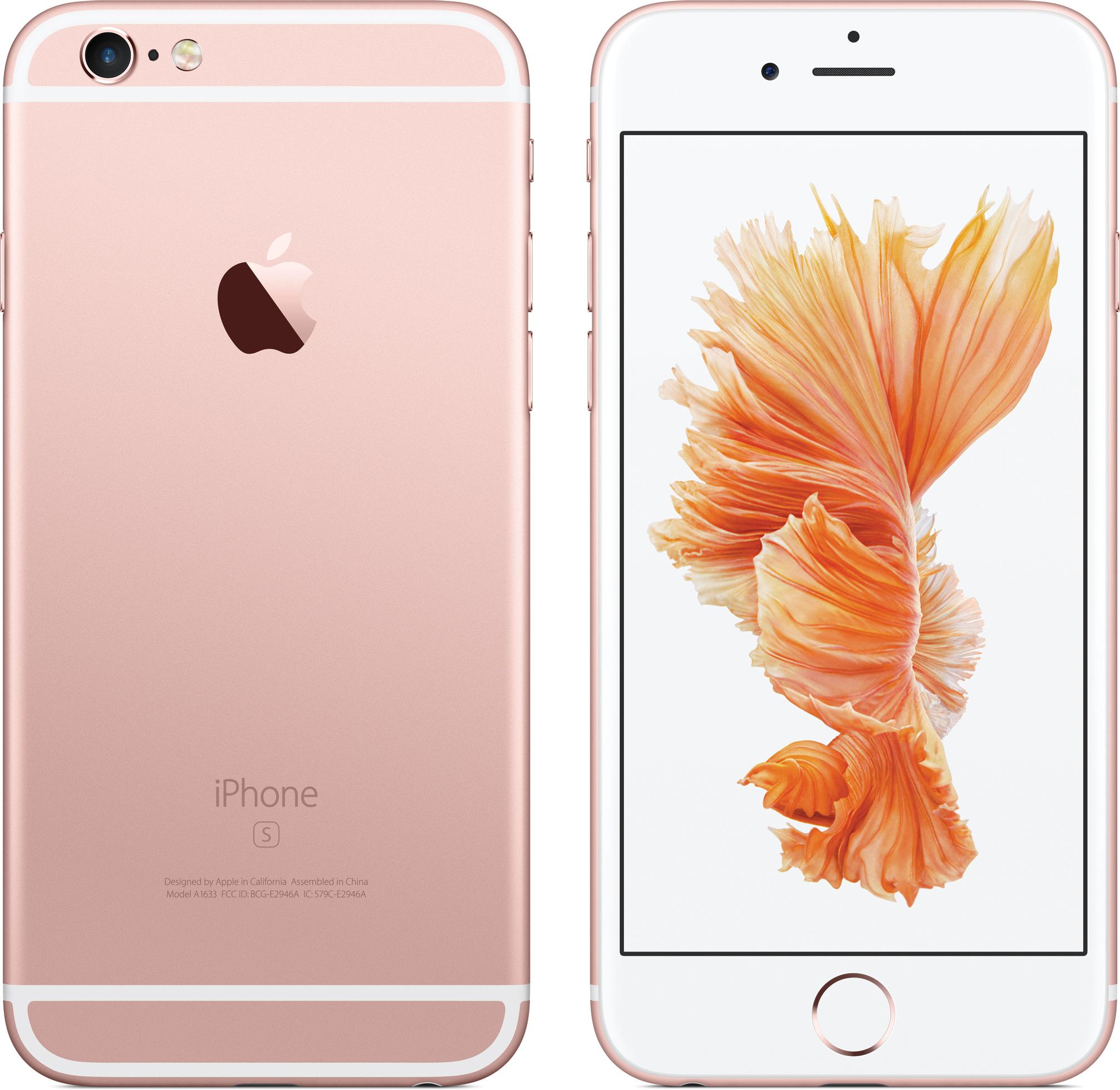 iPhone 6s de frente e de costas na cor ouro rosé