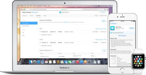 TestFlight no Mac, no iPhone e no Apple Watch