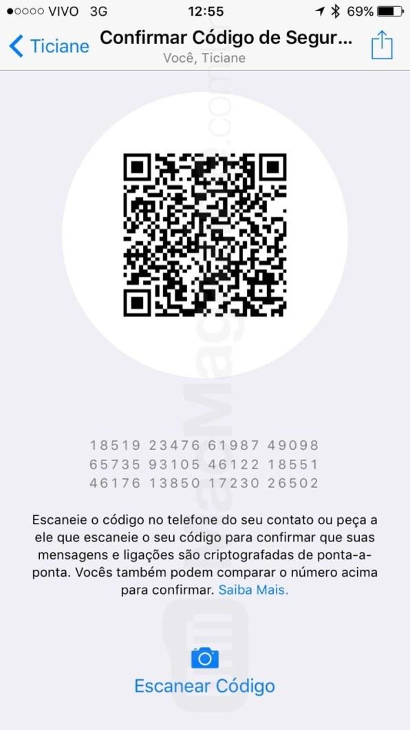 WhatsApp com aviso sobre as mensagens criptografadas