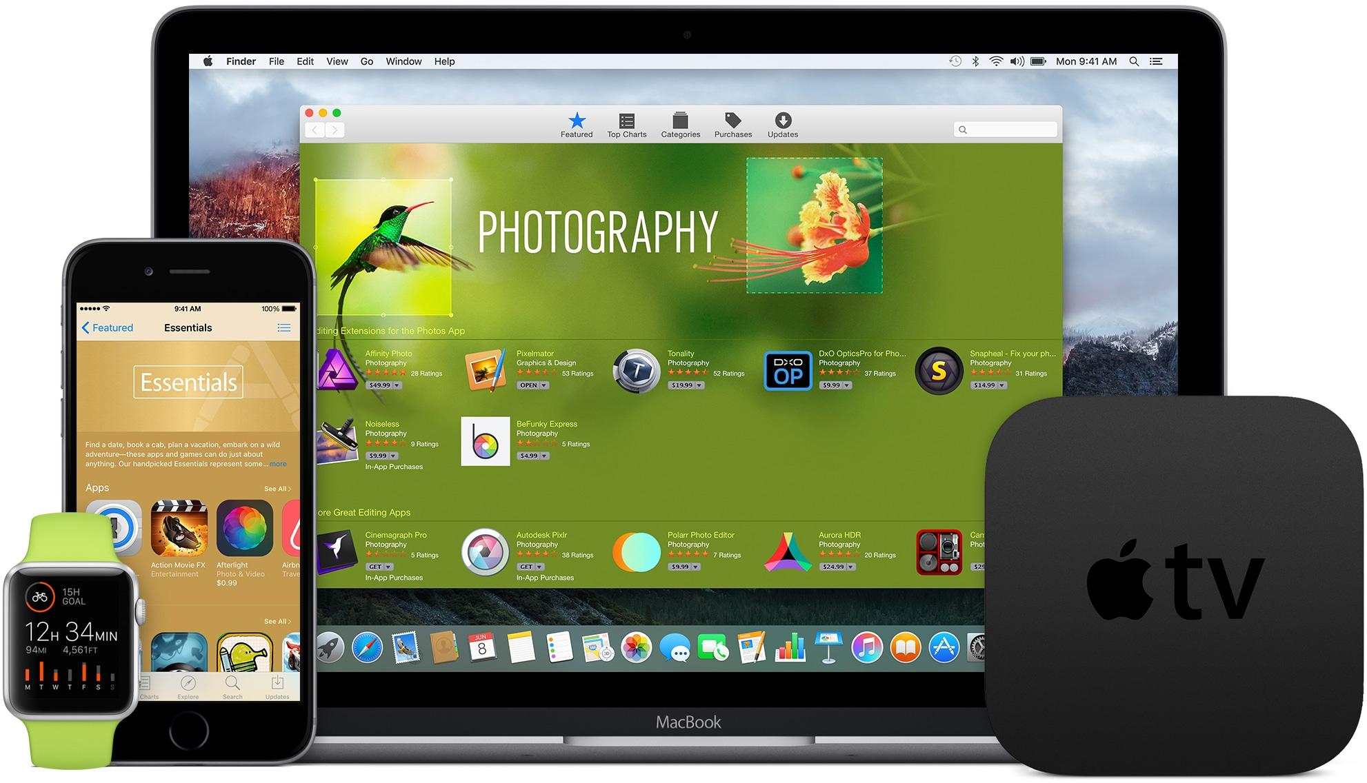 Apple Watch, iPhone, MacBook e Apple TV de frente (família de iProducts)