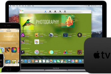 Apple Watch, iPhone, MacBook e Apple TV de frente (família de iProducts)