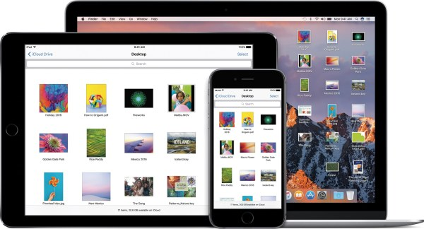 iCloud Drive do macOS Sierra num MacBook ao lado do app rodando em iPad e iPhone
