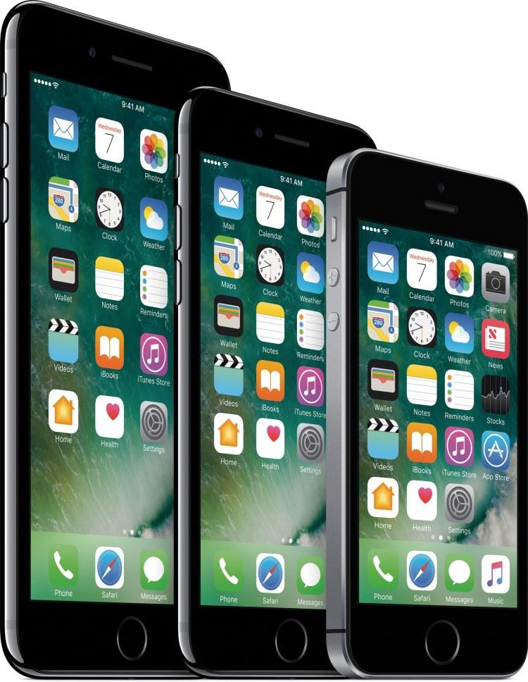 Família de iPhones 7 Plus, 7 e SE