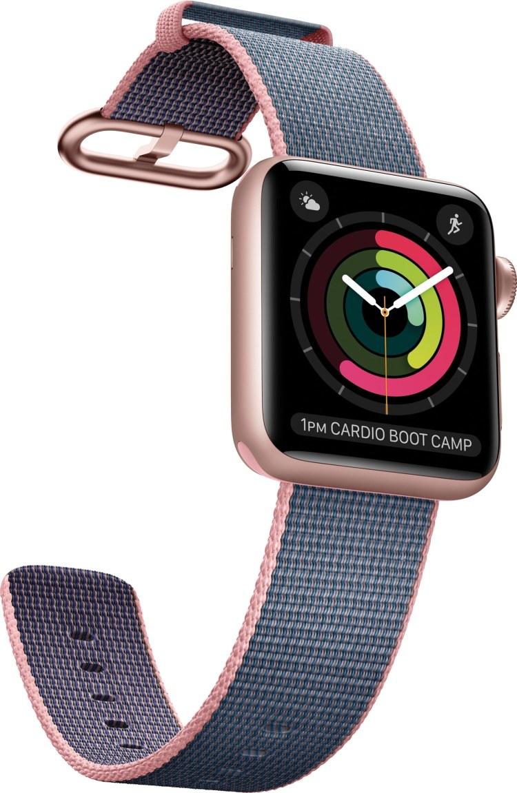 Apple Watch Series 2 ouro rosa com pulseira de trama de nylon azul e rosa