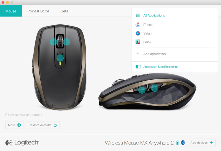 Utilitário Logitech Options