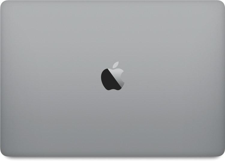 Novo MacBook Pro cinza espacial fechado visto de cima