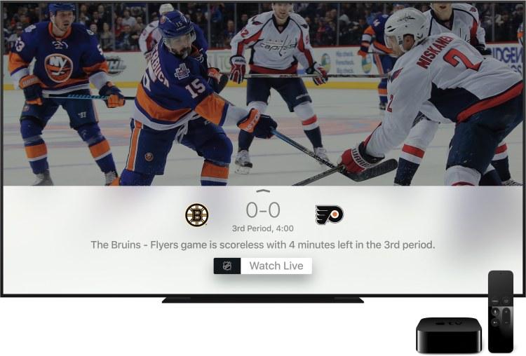 Apple TV destacando resultado de busca com jogo de hóquei ao vivo