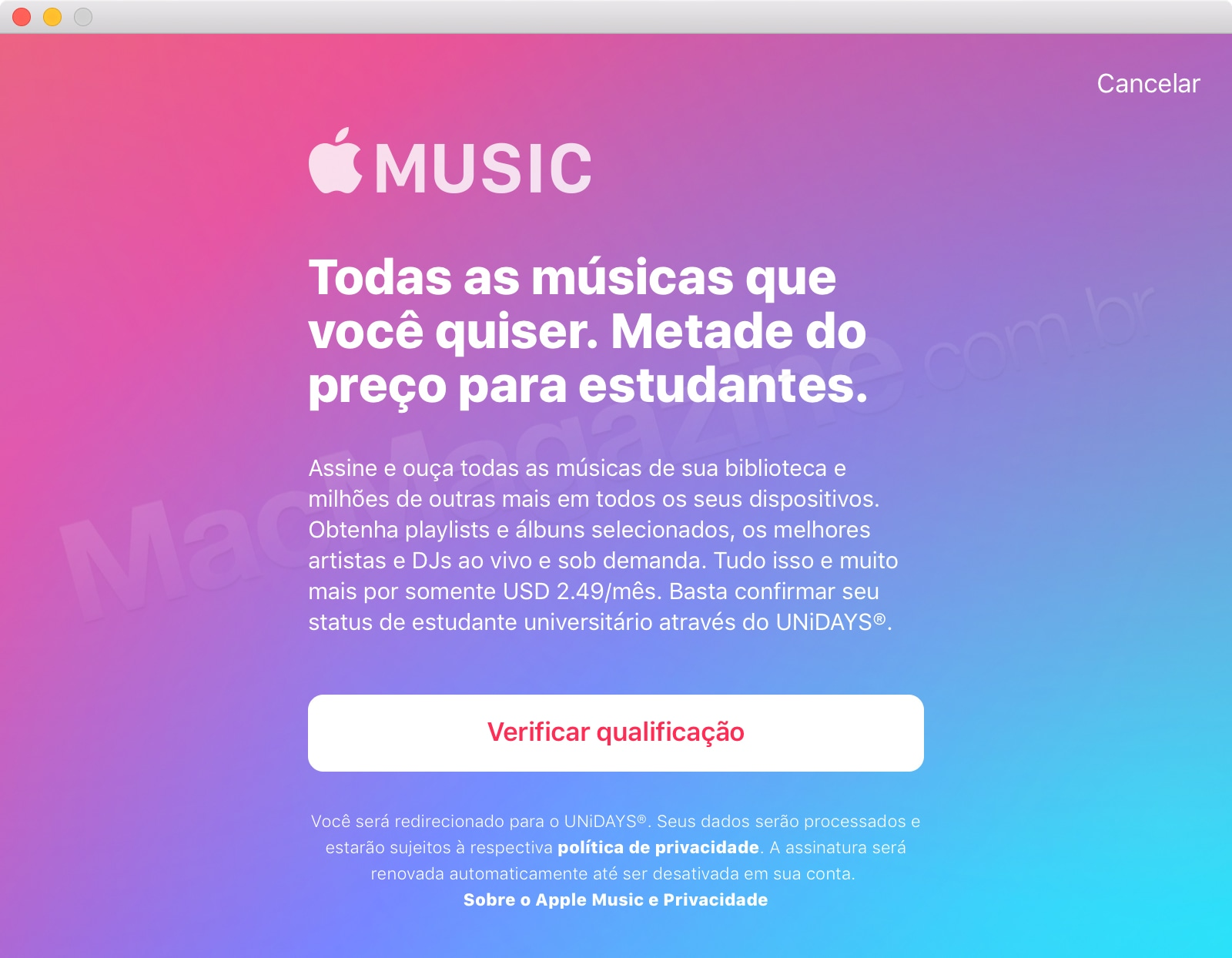 Apple Music para estudantes universitários