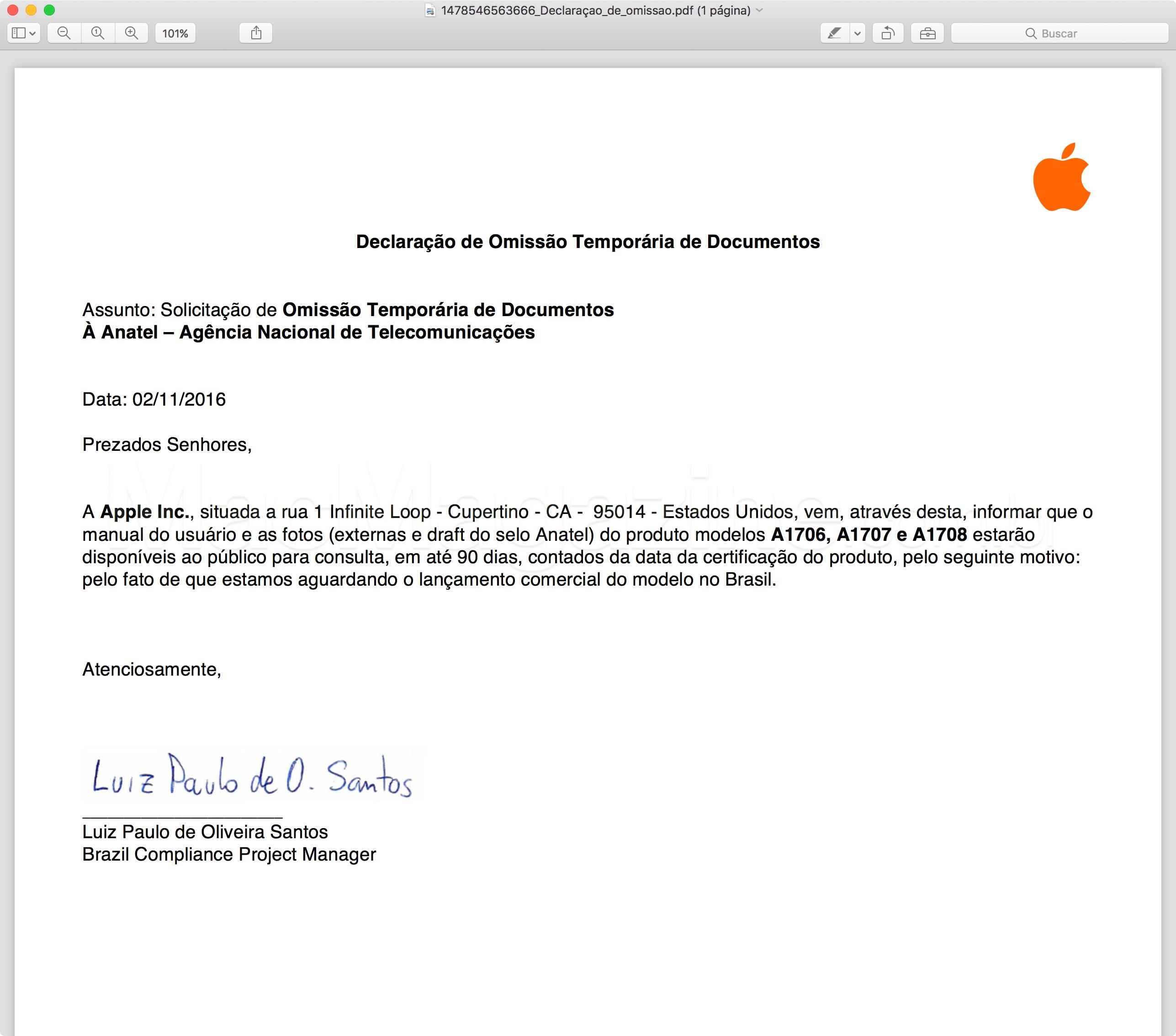 Homologação do novo MacBook Pro pela Anatel