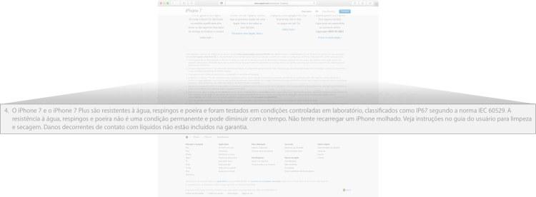 Garantia do iPhone 7 sobre água