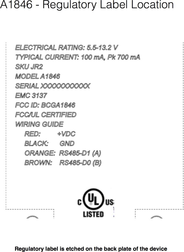 Documento do dispositivo A1846, testado pela FCC
