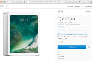 Página de venda do iPad Pro de 12,9 polegadas acusando estoques baixos