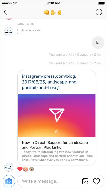 Novidades no Instagram Direct