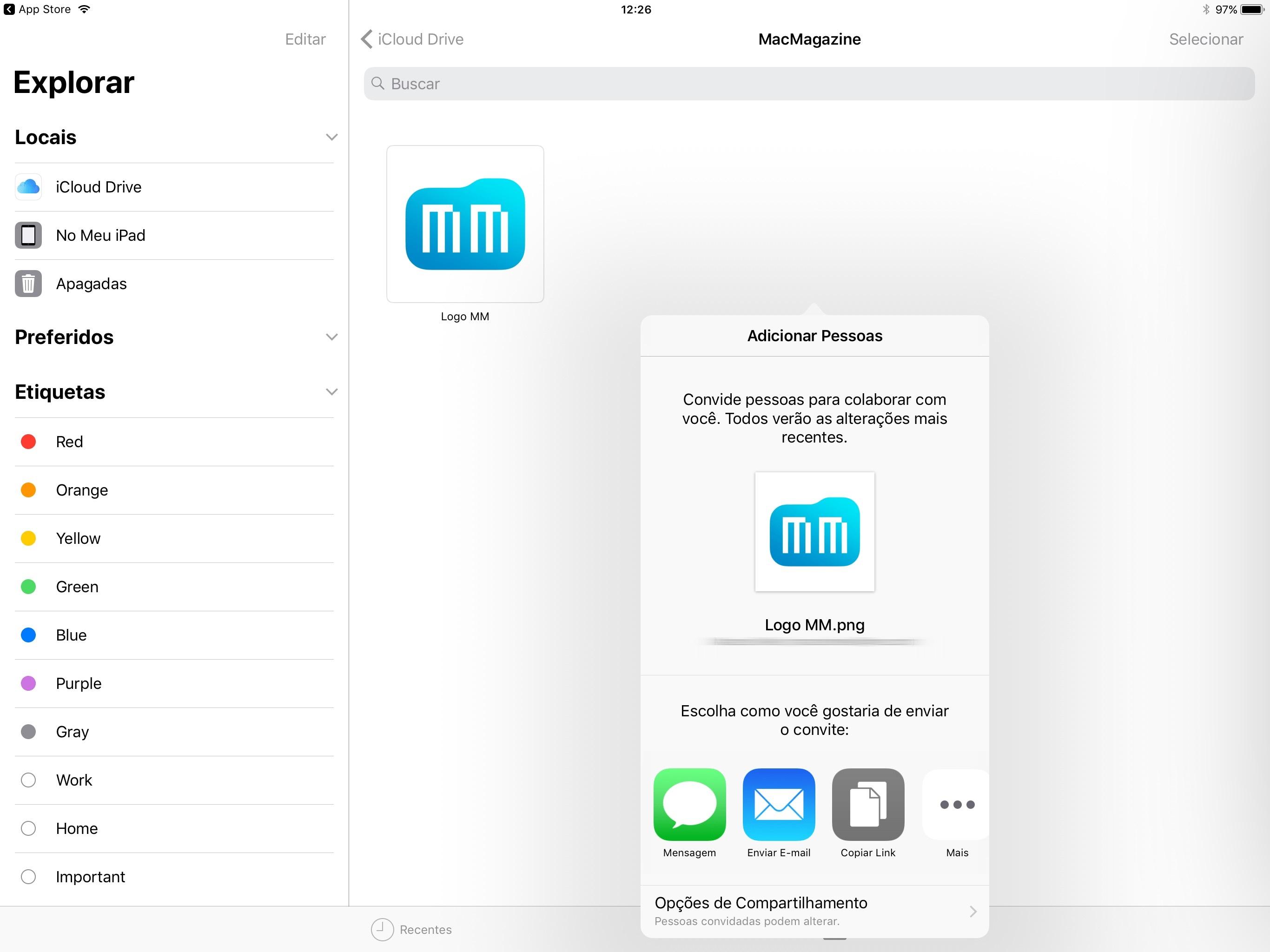 Compartilhando um arquivo no app Arquivos (Files) do iOS
