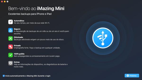 Tela do app iMazing Mini para macOS