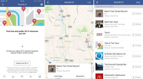 Recurso de Encontrar Wi-Fi do Facebook
