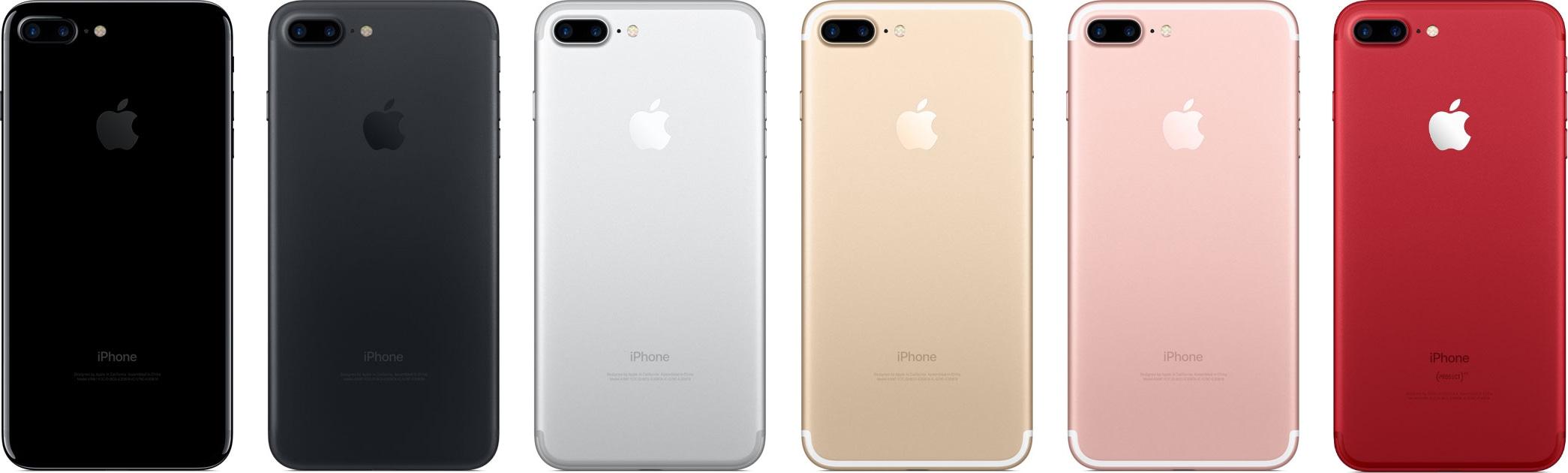 Todas as cores do iPhone 7