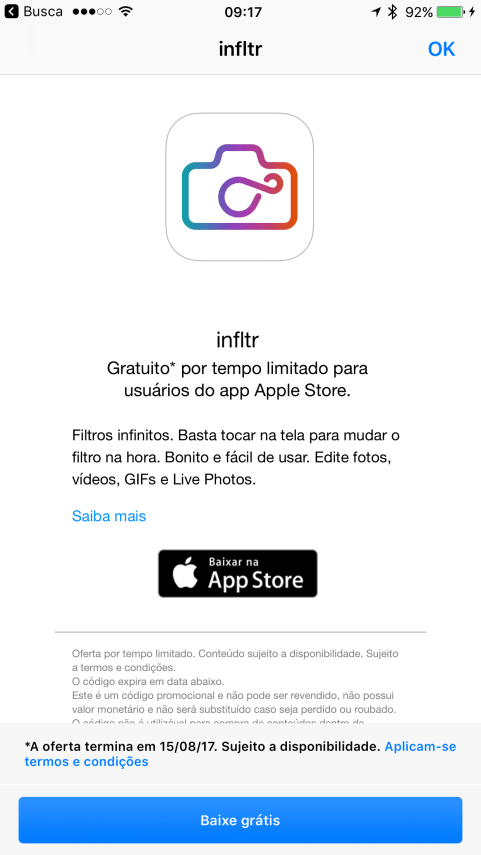 infltr no Apple Store
