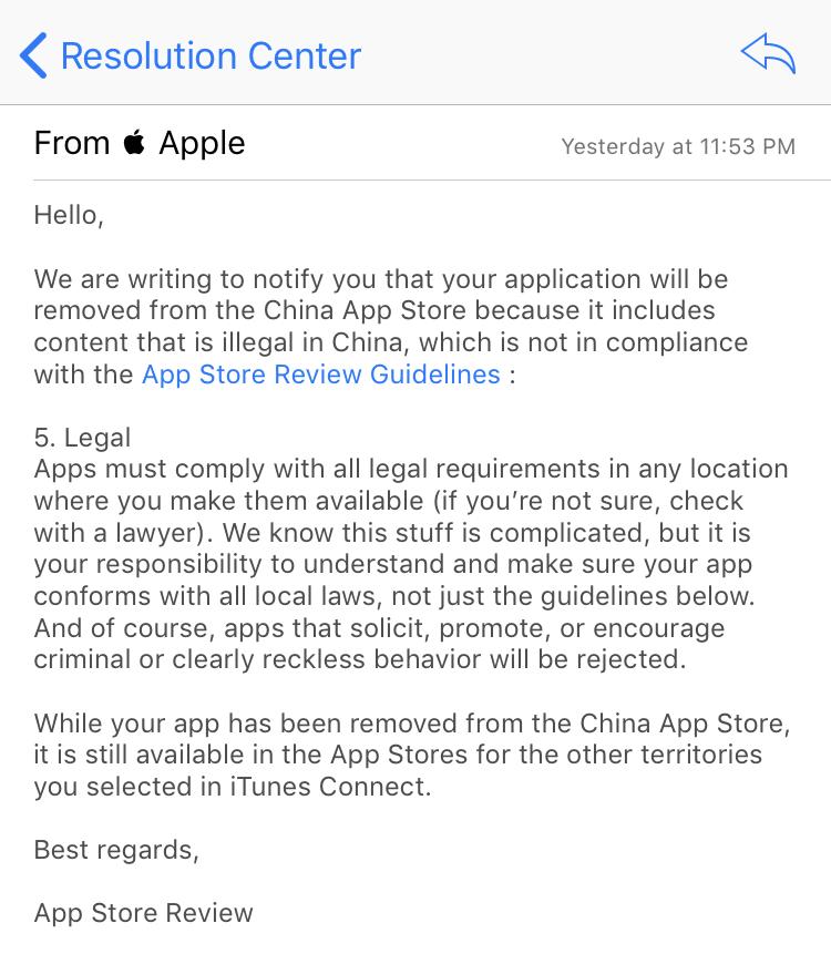China App Store VPN notificação