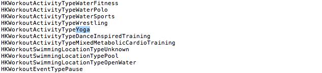 Códigos indicando adição da Yoga como atividades do Apple Watch