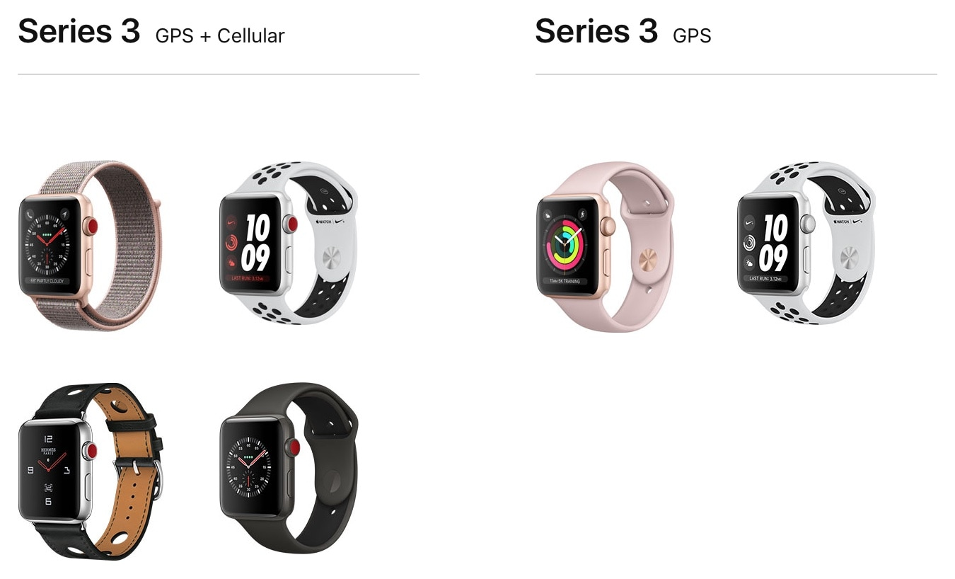 Apple Watch Series 3 com GPS + Cellular vs. Apple Watch Series 3 com GPS