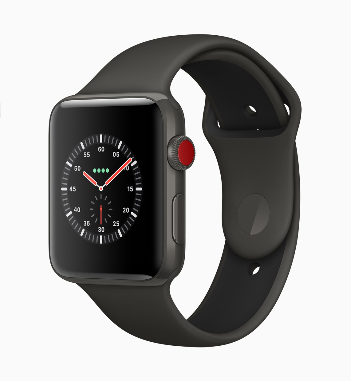 Apple Watch Series 3 com Digital Crown vermelha e conectividade celular