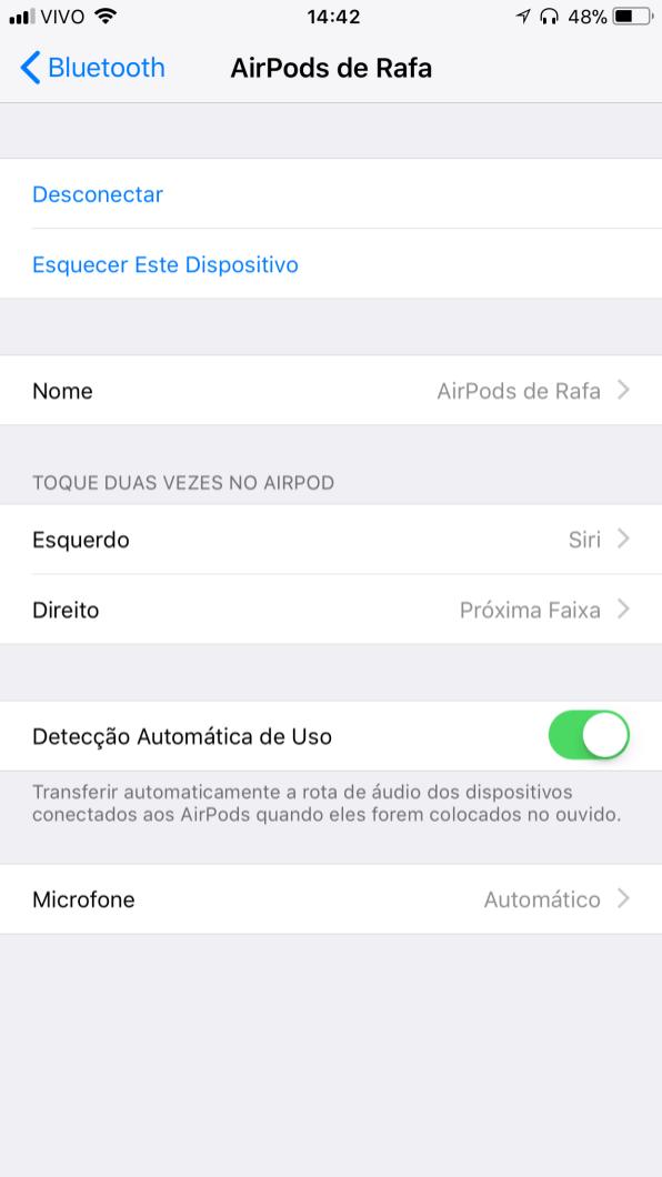 Configurando os AirPods no iOS 11