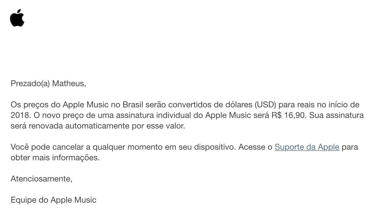 Preço do Apple Music em reais