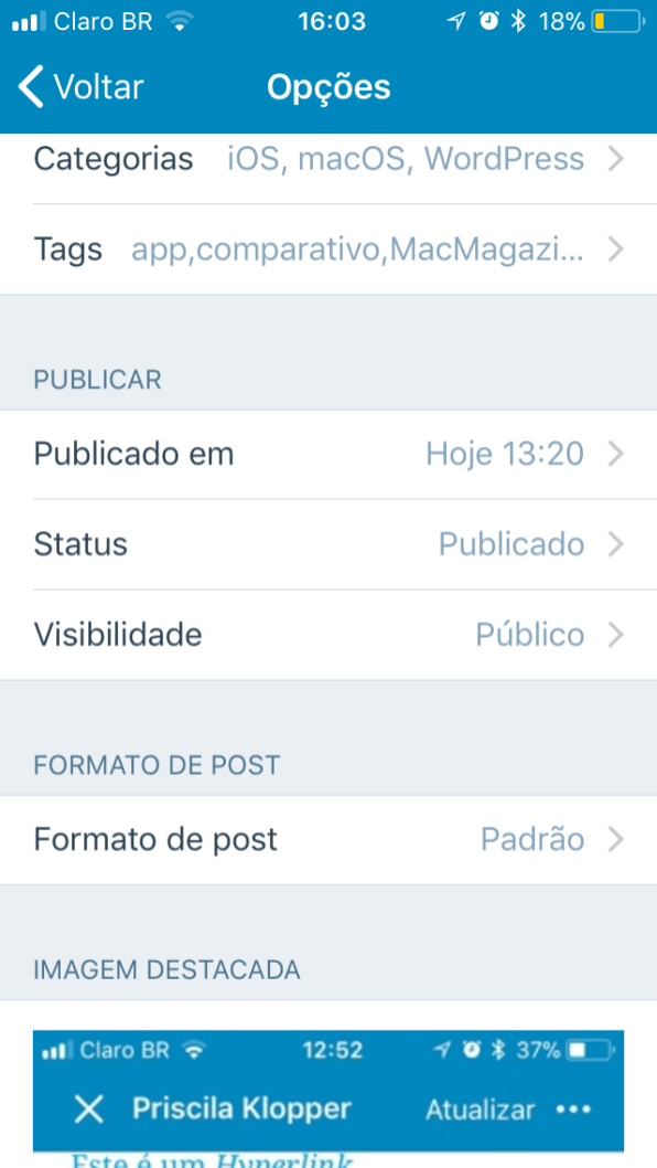 App WordPress para iOS