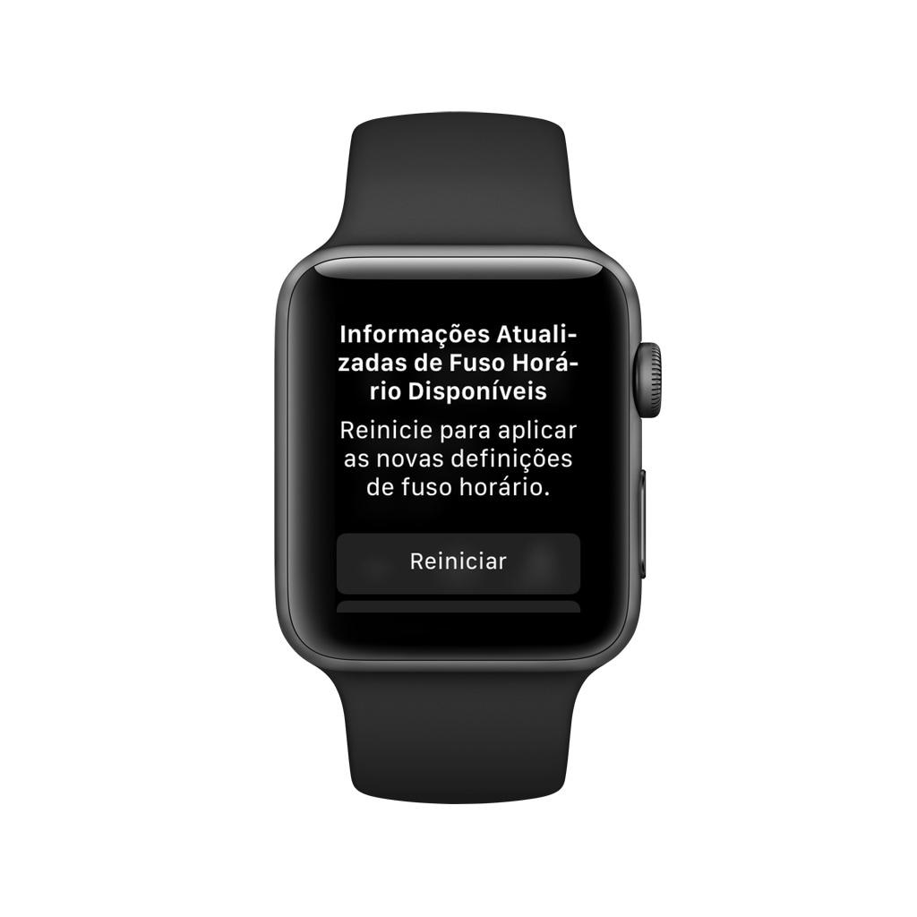 Alerta de atualização de fuso horário no Apple Watch